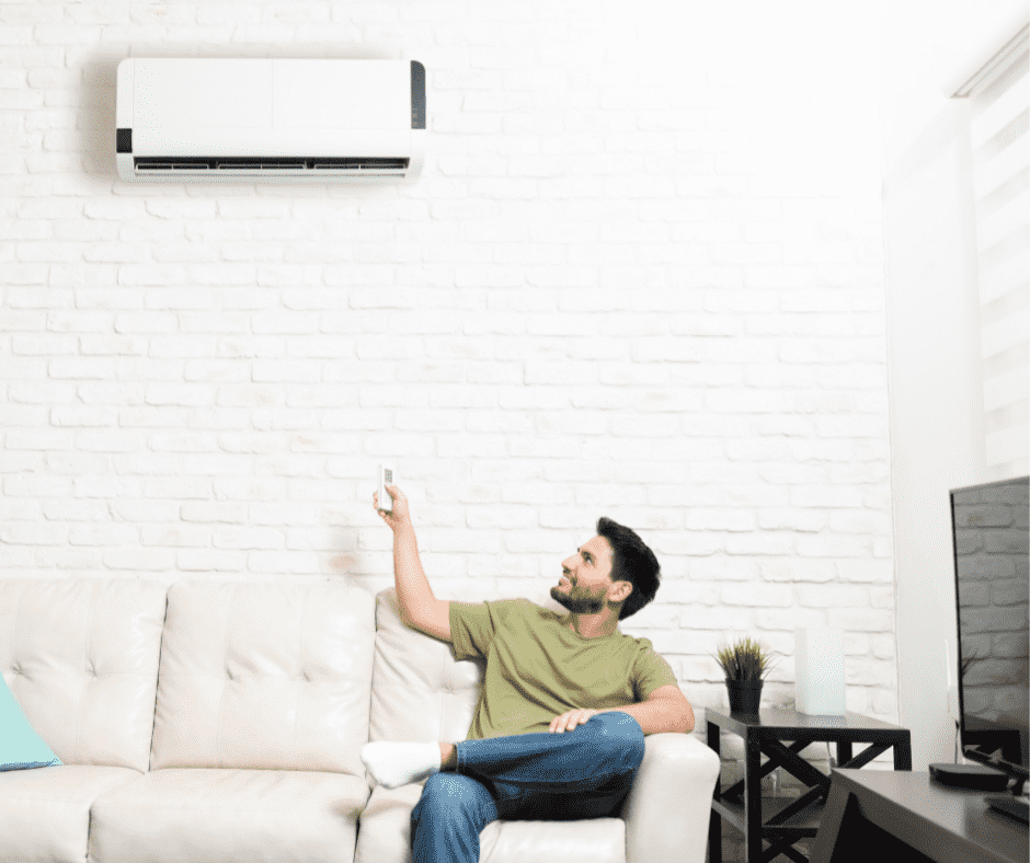 A ductless mini split system.